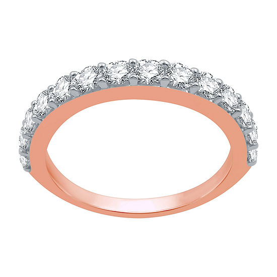 Womens 1 CT. T.W. Genuine White Diamond 10K Rose Gold Stackable Ring