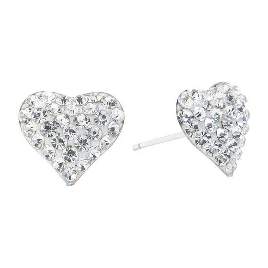 Silver Treasures Crystal Sterling Silver 10mm Heart Stud Earrings