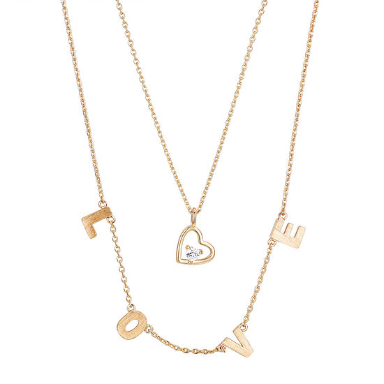 Footnotes 2-pc. Cubic Zirconia 16 Inch Link Heart Pendant Necklace
