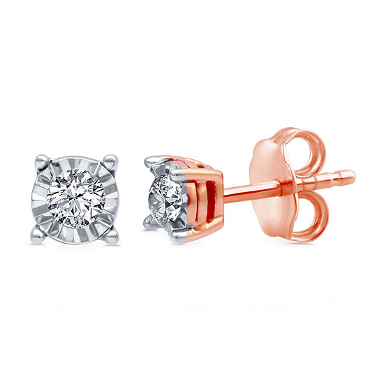 1/6 CT. T.W. Genuine White Diamond 14K Rose Gold Over Silver 4mm Round Stud Earrings