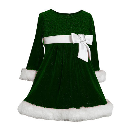 Kids 1950s Clothing & Costumes: Girls, Boys, Toddlers Bonnie Jean Toddler Girls Long Sleeve Drop Waist Dress 3t  Green $23.94 AT vintagedancer.com