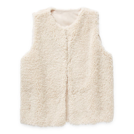 Mixit Faux Fur Womens U Neck Sleeveless Vest, Small-medium , Beige