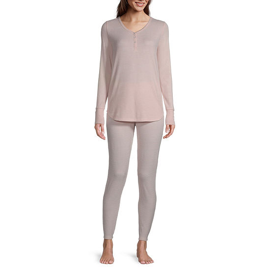 Ambrielle Womens Long Sleeve Pant Pajama Set 2-pc.