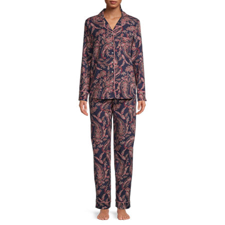 Liz Claiborne Womens-Tall Pant Pajama Set 2-pc. Long Sleeve, X-small Tall , Blue