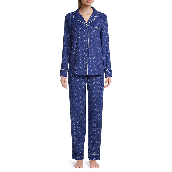 Liz Claiborne Womens-Petite Long Sleeve Pant Pajama Set 2-pc.