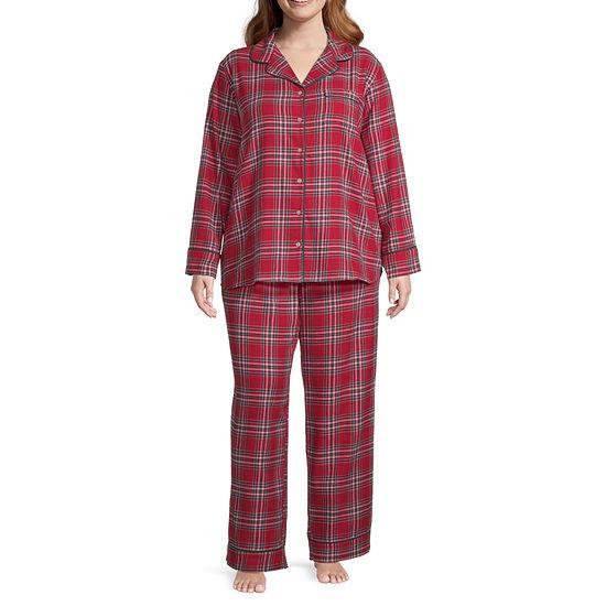 Liz Claiborne Womens-Plus Long Sleeve Pant Pajama Set 2-pc.