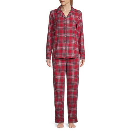 Liz Claiborne Womens Long Sleeve Pant Pajama Set 2-pc., X-large , Red
