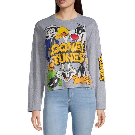 Juniors Looney Tunes Crop Top-Womens Crew Neck Long Sleeve T-Shirt