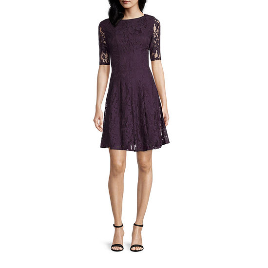 Danny & Nicole Short Sleeve Floral Lace Fit & Flare Dress