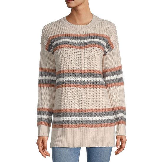 Arizona-Juniors Womens Round Neck Long Sleeve Striped Pullover Sweater