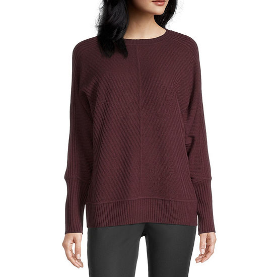 Worthington Womens Crew Neck Long Sleeve Pullover Sweater