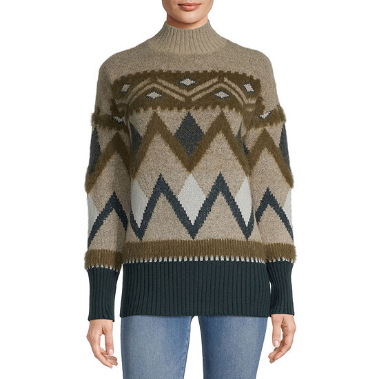a.n.a Womens Mock Neck Long Sleeve Geo Pullover Sweater