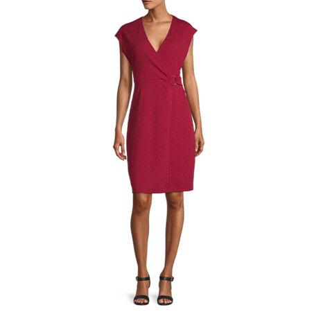 Liz Claiborne Short Sleeve A-Line Dress, X-large , Red