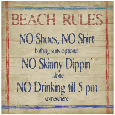 Thirstystone® Beach Rules Set of 4 Stoneware Coasters