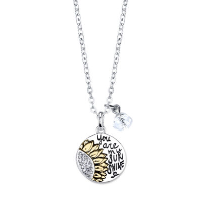 Footnotes Womens White Round Pendant Necklace