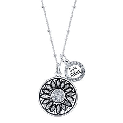Footnotes Womens White Crystal Round Pendant Necklace