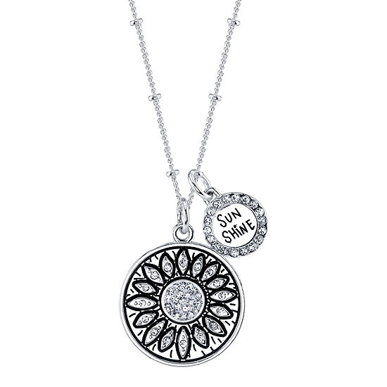 Footnotes White Crystal 18 Inch Cable Round Pendant Necklace