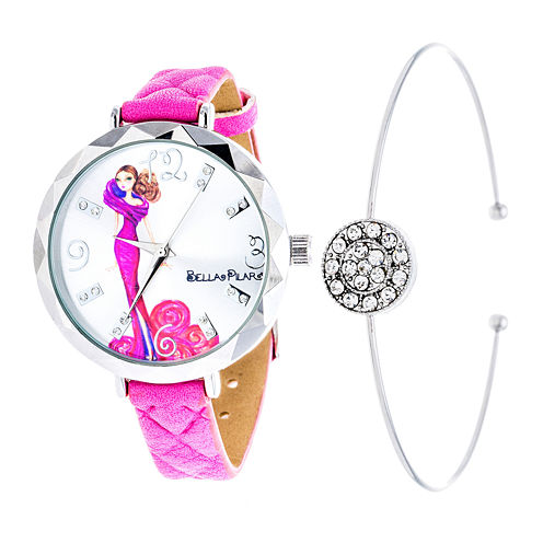 Bella Pilar Womens Pink Watch Boxed Set-Bps008pk