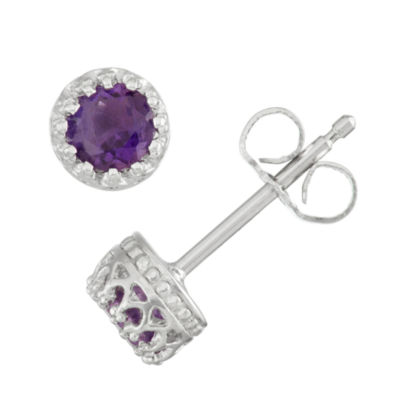 Children's Sterling Silver Genuine Amethyst Stud Earrings