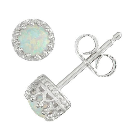 Children's Sterling Silver Opal 4mm Stud Earrings