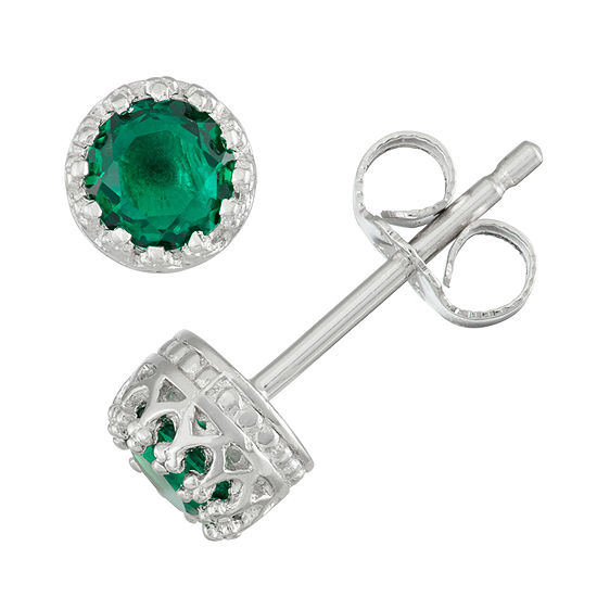 Childrens Sterling Silver Emerald 4mm Stud Earrings