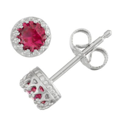 Children's 4mm Lab Create Ruby Stud Earrings in Sterling Silver