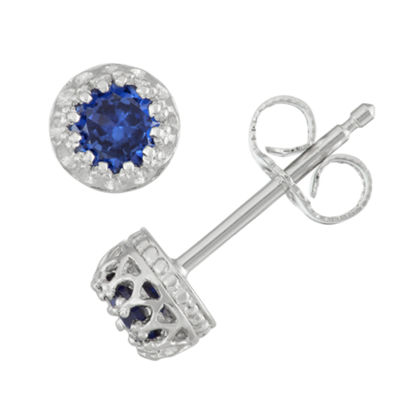 Children's Sterling Silver Sapphire 4mm Stud Earrings