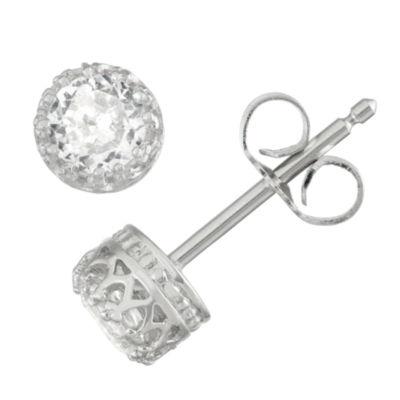 White Sapphire 5.2mm Stud Earrings