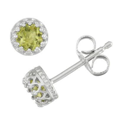 Genuine Green Peridot Sterling Silver 5.2mm Stud Earrings