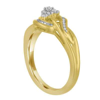 Womens 1/10 CT. T.W. White Diamond 14K Gold Over Silver Cocktail Ring