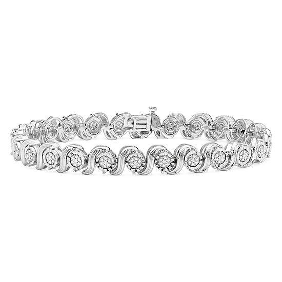 1 10 Ct Tw Genuine White Diamond Sterling Silver Tennis Bracelet