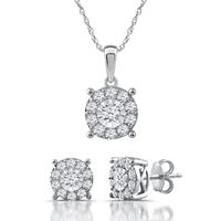 Deals on 1 CT. T.W. Genuine White Diamond Sterling Silver 2-pc Jewelry Set