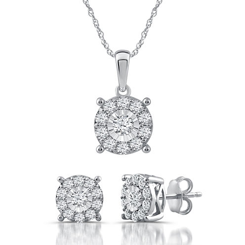 1 CT. T.W. Genuine Diamond Sterling Silver 2-pc. Jewelry Set