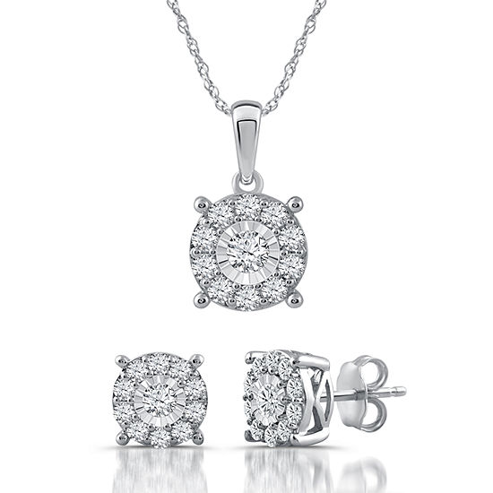 Womens 2 pc 1 CT TW White Diamond Sterling Silver Jewelry Set JCPenney c9288f848