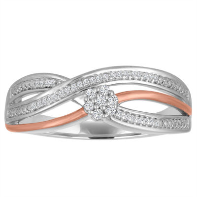 Diamond Blossom Womens 1/10 CT. T.W. Genuine White Diamond Sterling Silver Gold Over Silver Cocktail Ring