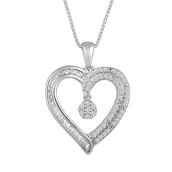 Diamond Blossom Womens 1/4 CT. T.W. Genuine White Diamond Sterling Silver Heart Pendant Necklace