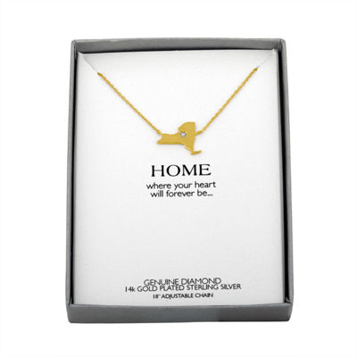Diamond Accent 14K Yellow Gold over Silver New York Pendant Necklace