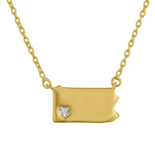 Diamond Accent 14K Yellow Gold over Silver Pennsylvania Pendant Necklace