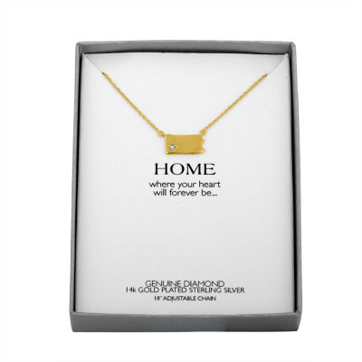 Diamond Accent 14K Yellow Gold over Silver Pennsylvania Pendant Necklace