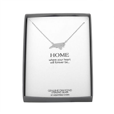 Diamond Accent Sterling Silver North Carolina Pendant Necklace