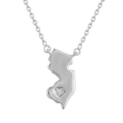 Diamond Accent Sterling Silver New Jersey Pendant Necklace