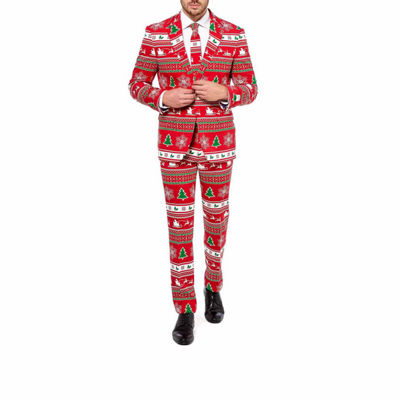 Holiday Red Tree OppoSuits 3-pc. Slim Fit Suit Sets