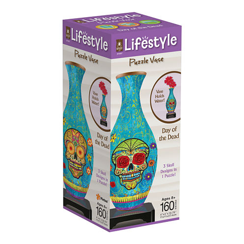 BePuzzled Lifestyle 3D Puzzle Vase - Day of the Dead: 160 Pcs