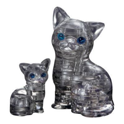 BePuzzled 3D Crystal Puzzle - Cat & Kitten (Black): 49 Pcs
