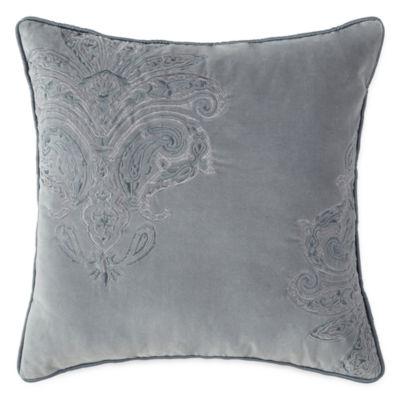 Royal Velvet Fresco Paisley Emboridered Square Decorative Pillow