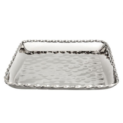 Classic Touch Hammered Stainless Steel 12in. Square Platter