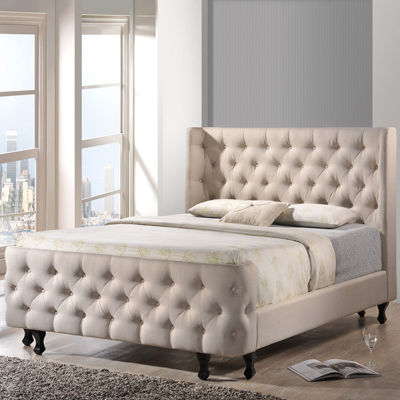 Baxton Studio Francesca Upholstered Linen Platform Bed and Bench