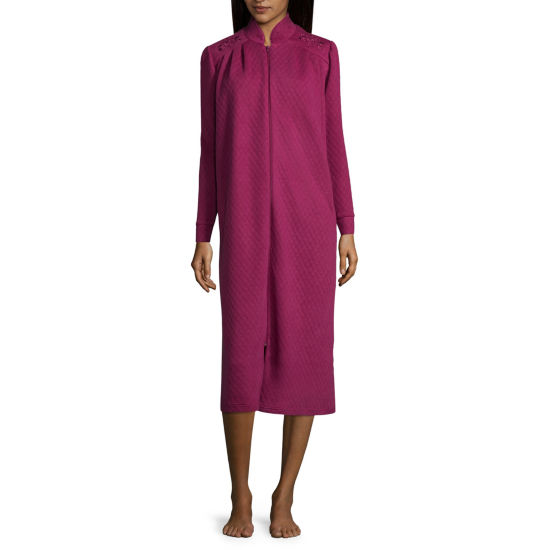 Adonna Long Sleeve Knit Zip Front Robe