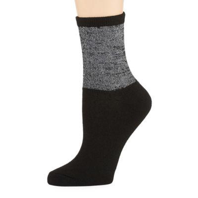 City Streets 1 Pair Lurex Quarter Socks - Womens