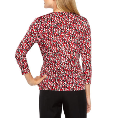 Black Label by Evan-Picone 3/4 Sleeve Faux Wrap Blouse